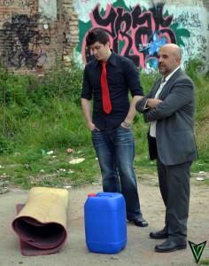 Alex y Cuni ensayando una escena